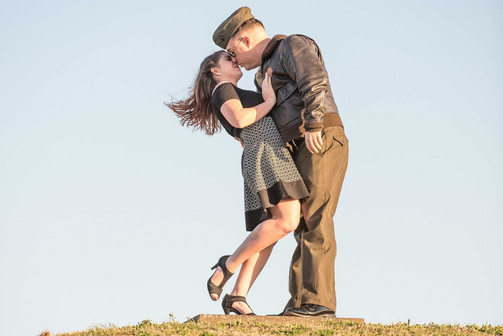 Vintage aviator engagement shoot